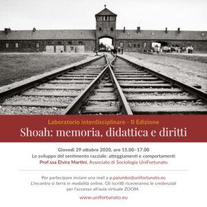 """UNIFORTUNATO –RITORNANO GLI INCONTRI DEL LABORATORIO INTERDISCIPLINARE.""""SHOAH: MEMORIA, DIDATTICA E DIRITTI""""."""
