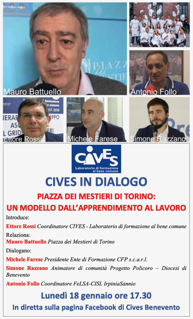 CIVES IN DIALOGO CON MAURO BATTUELLO DIPIAZZA DEI MESTIERI DI TORINO