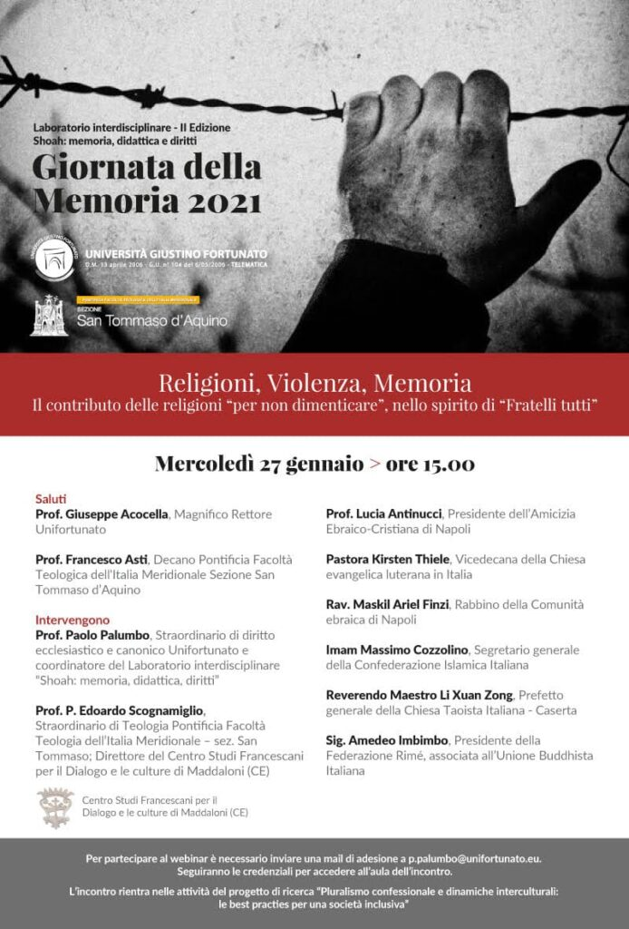 GIORNATA DELLA MEMORIA 2021.RELIGIONI, VIOLENZA, MEMORIA