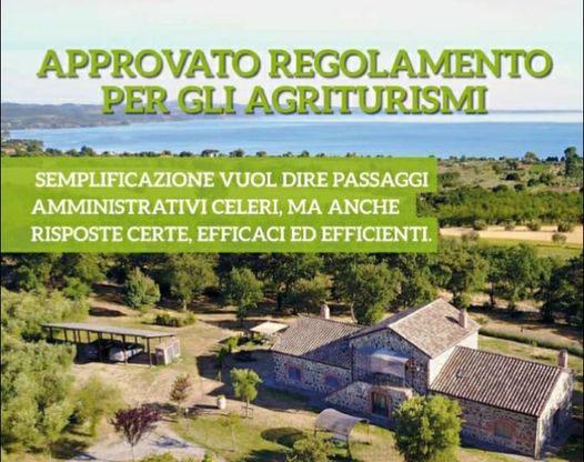 AGRICOLTURA: APPROVATO REGOLAMENTO PER GLI AGRITURISMI