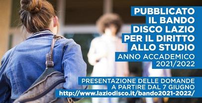 LAZIO, PUBBLICATO IL BANDO PER IL DIRITTO ALLO STUDIO PER L'ANNO ACCADEMICO 2021/2022
